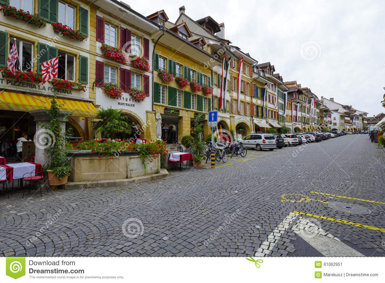 City Of Murten, Switzerland Stock Photos.