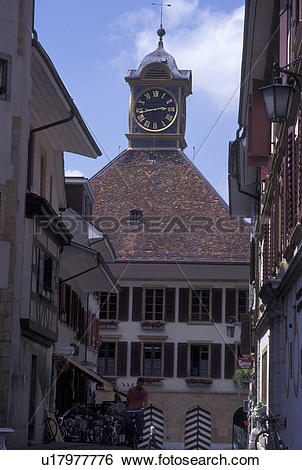 Stock Images of Switzerland, Fribourg, Buildings in downtown.