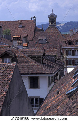Stock Images of Switzerland, Fribourg, Aerial view of the rooftops.