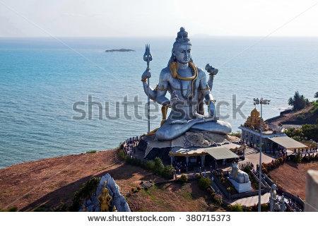 Statue Lord Shiva Murudeshwar Temple Karnataka Stock Photo.
