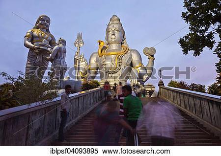 Stock Image of Giant statue of Lord Shiva, Murudeshwar Temple, at.