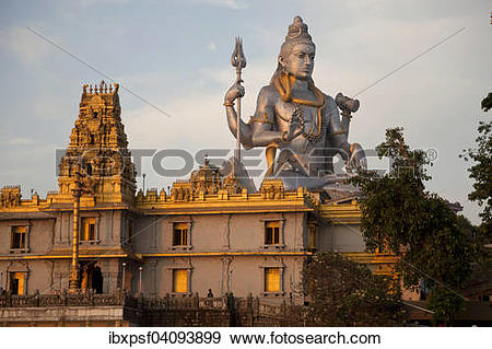 Stock Photograph of Giant statue of Lord Shiva, Murudeshwar Temple.