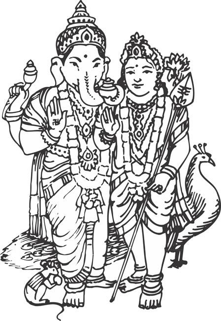 Line Art Vinayagar : Murugan clipart clipground