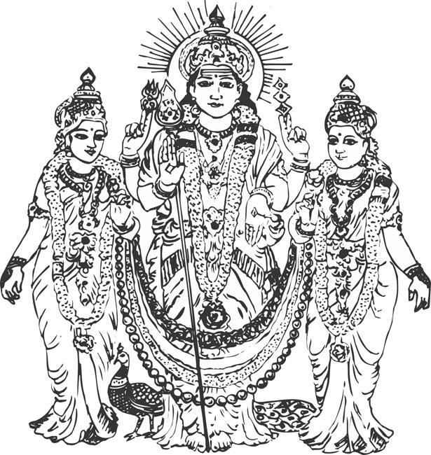 Line Art Hindu Gods : Murugan clipart clipground