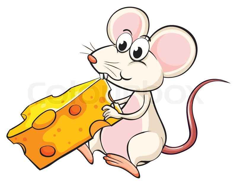 Cute mouse holding a piece of cheese.