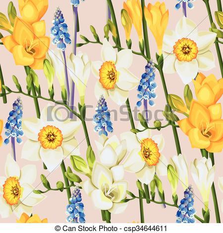 Vector Clip Art of Freesia, daffodil and muscari seamless.