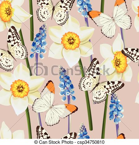 Vector Clip Art of Daffodil and muscari vector seamless background.