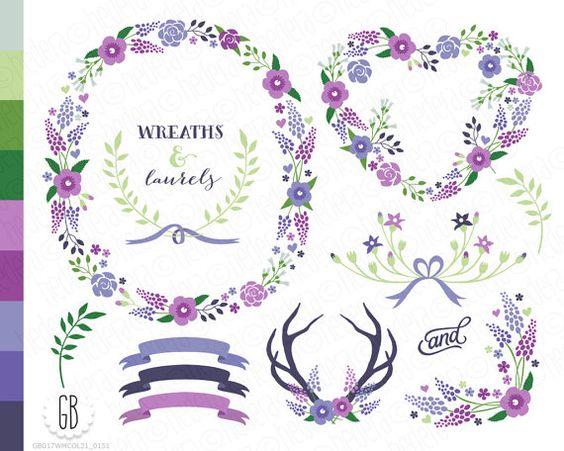 Floral wreath, laurels, ribbons, clip art, wild flowers, muscari.