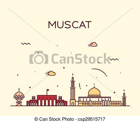 Vector Clip Art of Muscat skyline trendy vector illustration.