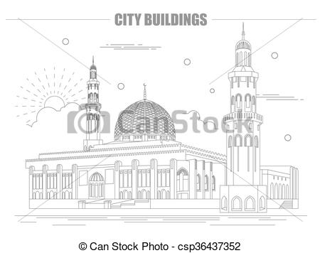 Clipart Vector of City buildings graphic template. Oman. Muscat.