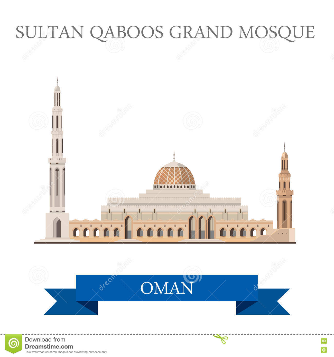 Governemnt Building Muscat Oman Stock Illustrations.