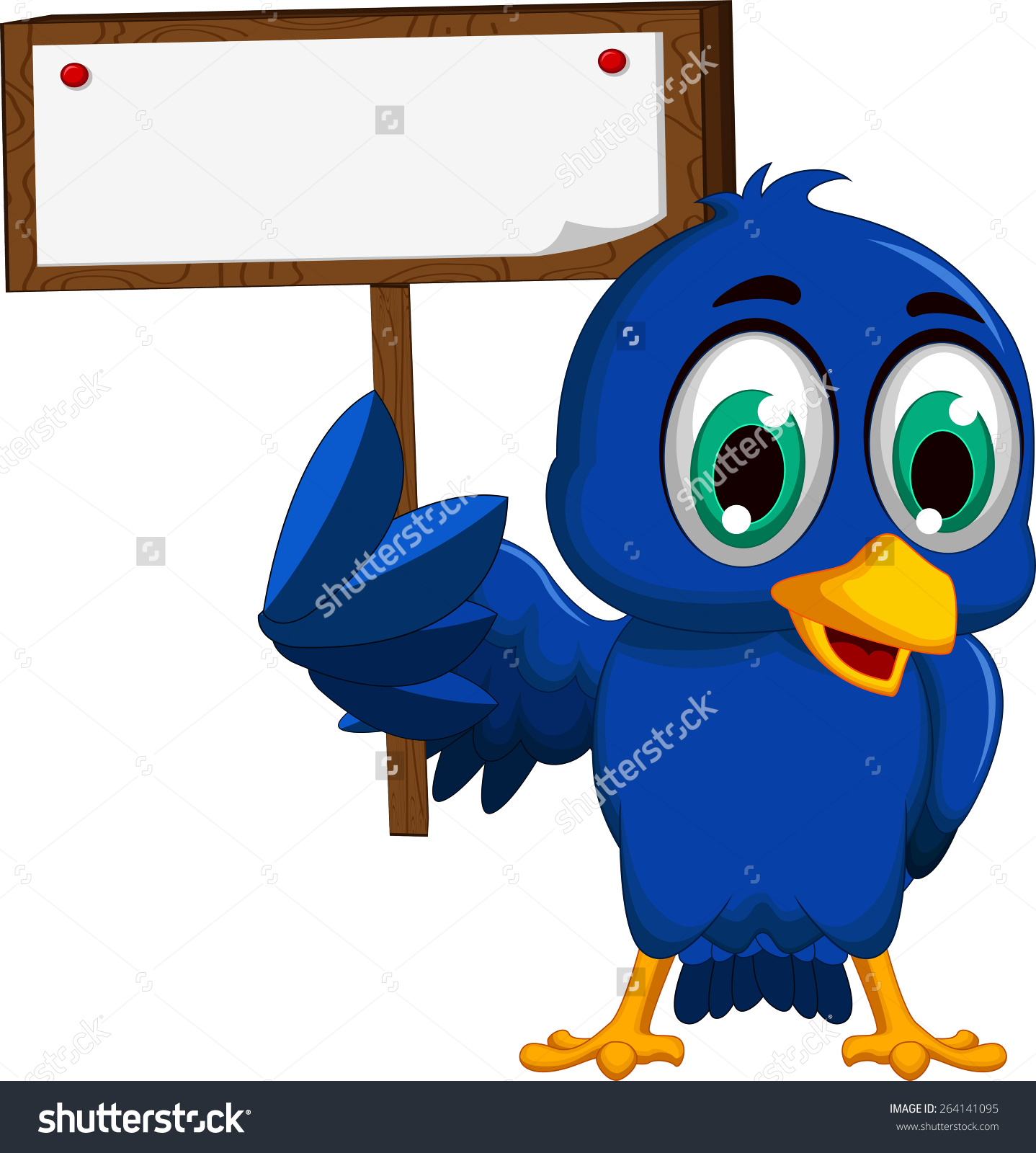Cute Blue Bird Cartoon Holding Blank Stock Vector 264141095.