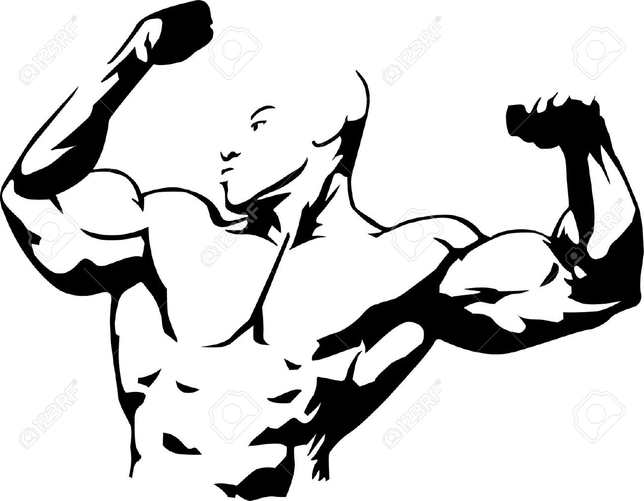 Vector Illustration Of Muscle Man Suitable For Body Building.