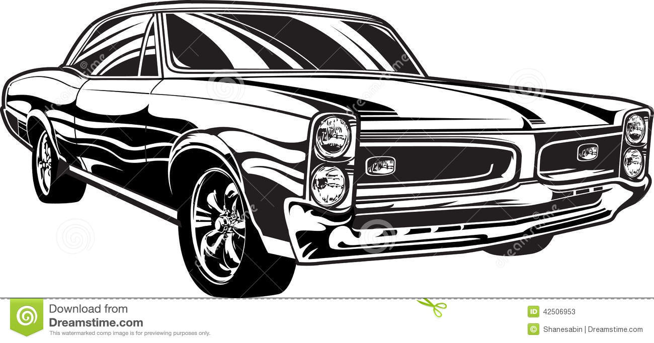 Muscle car clipart vector.