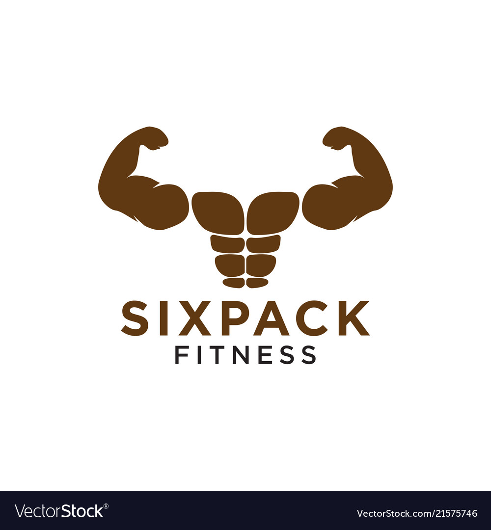 Sixpack belly and strong muscle logo design.