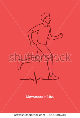 Vector Illustration Running Man Silhouette Heart Stock Vector.