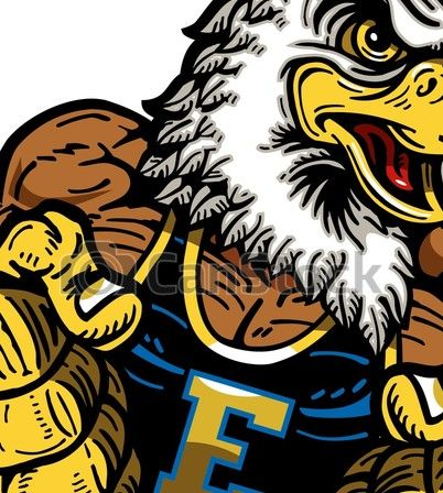Muscular eagle mascot with fists up for school, college or.