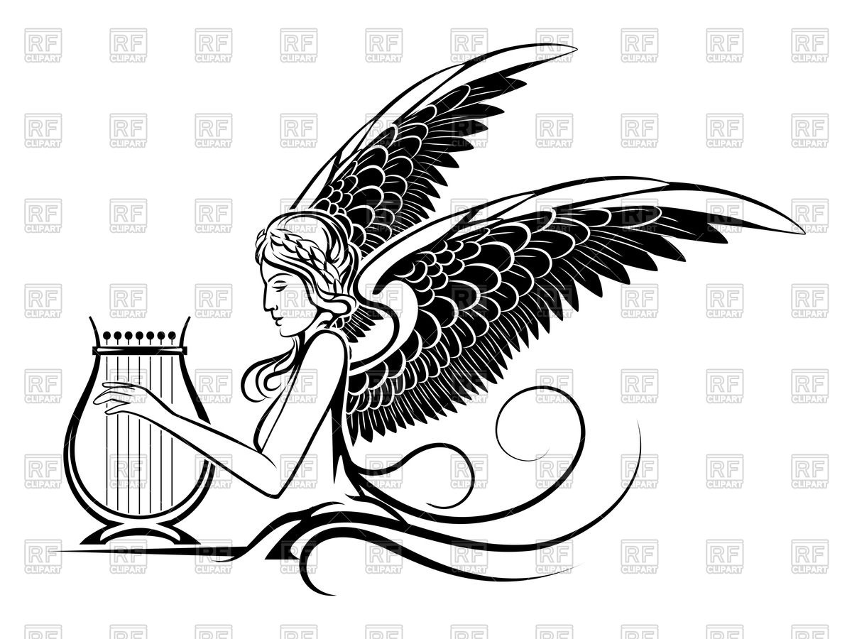 Ancient winged Muse playing on harp Vector Image #60498.