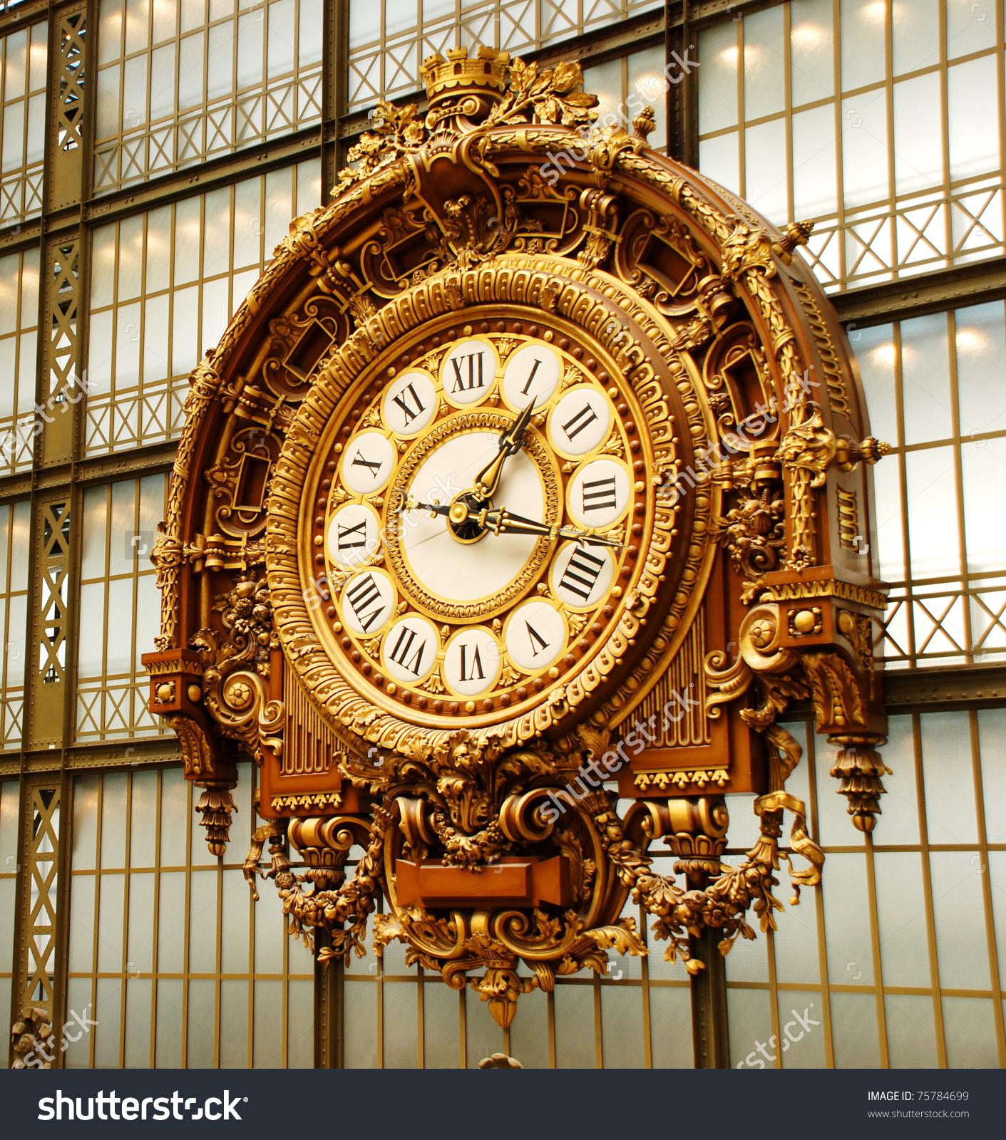 Musee Dorsay Clock Paris France Stock Photo 75784699.