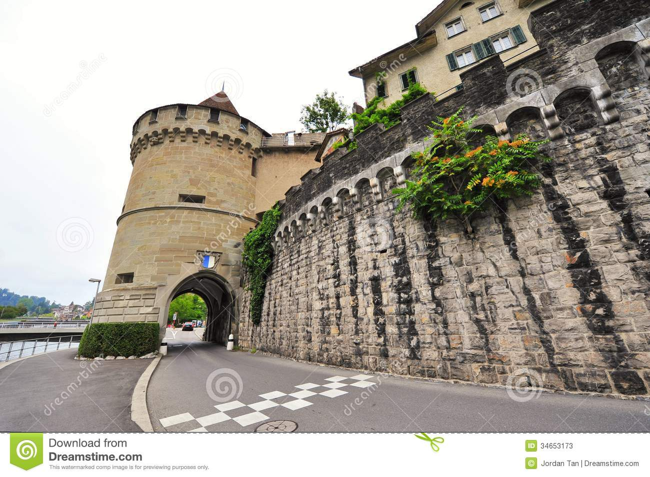 Musegg Wall And Tower In Lucerne, Switzerland Stock Photos.