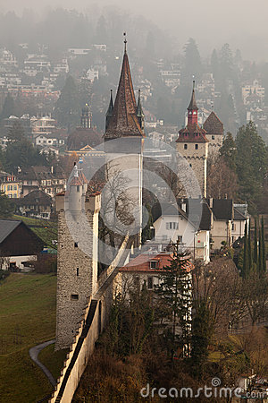 Musegg Wall And Towers In Luzern, Switzerland Stock Photo.