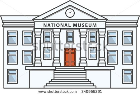 People Black And White In Museum Clipart.