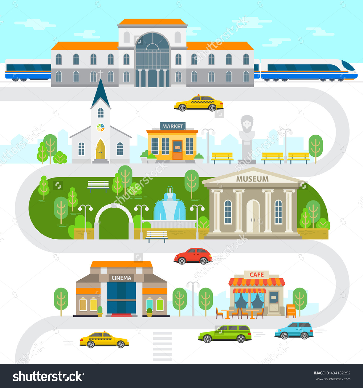 City Infographic Elements Town Vector Flat Stock Vector 434182252.