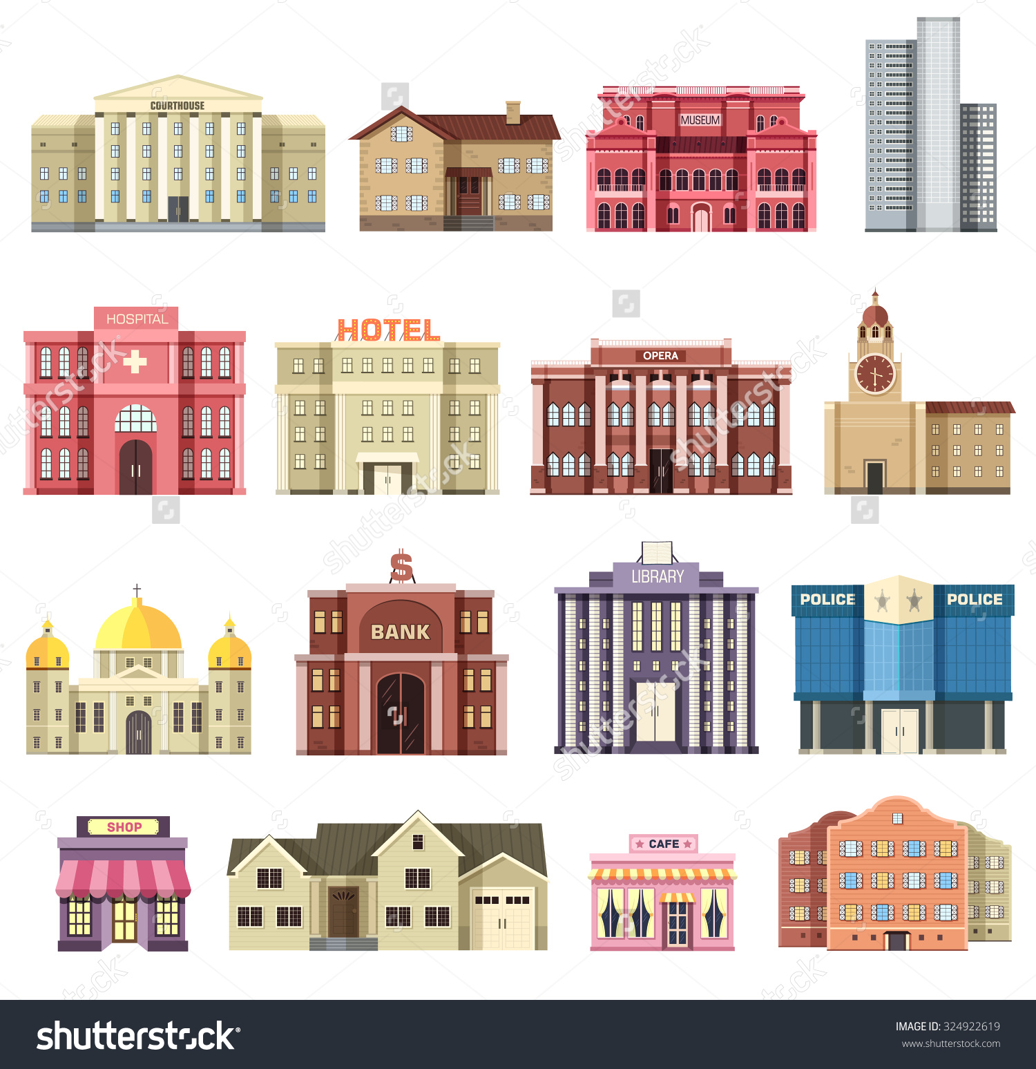 Flat Colorful Vector City Buildings Set Stock Vector 324922619.