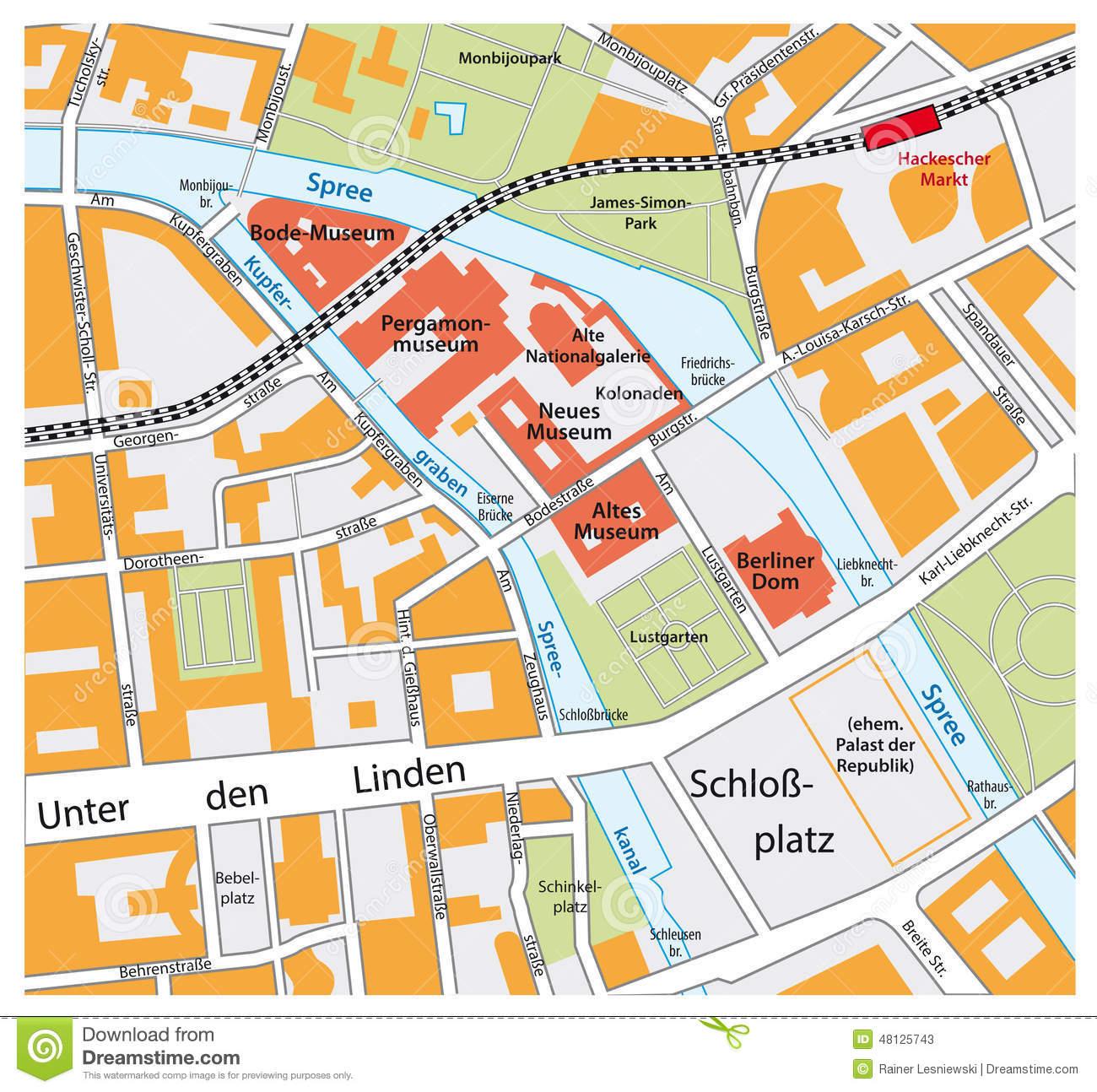 Map Of The Berlin Museum Island Stock Vector.