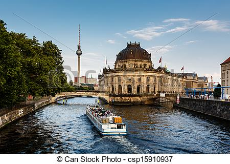 Stock Photos of River Boat Approacing Museum Island, Berlin.