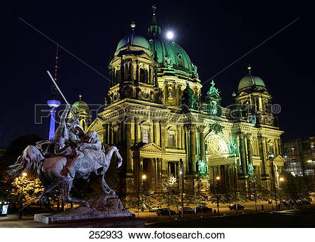 Stock Photo of Church lit up at night, Altes Museum, Berlin.