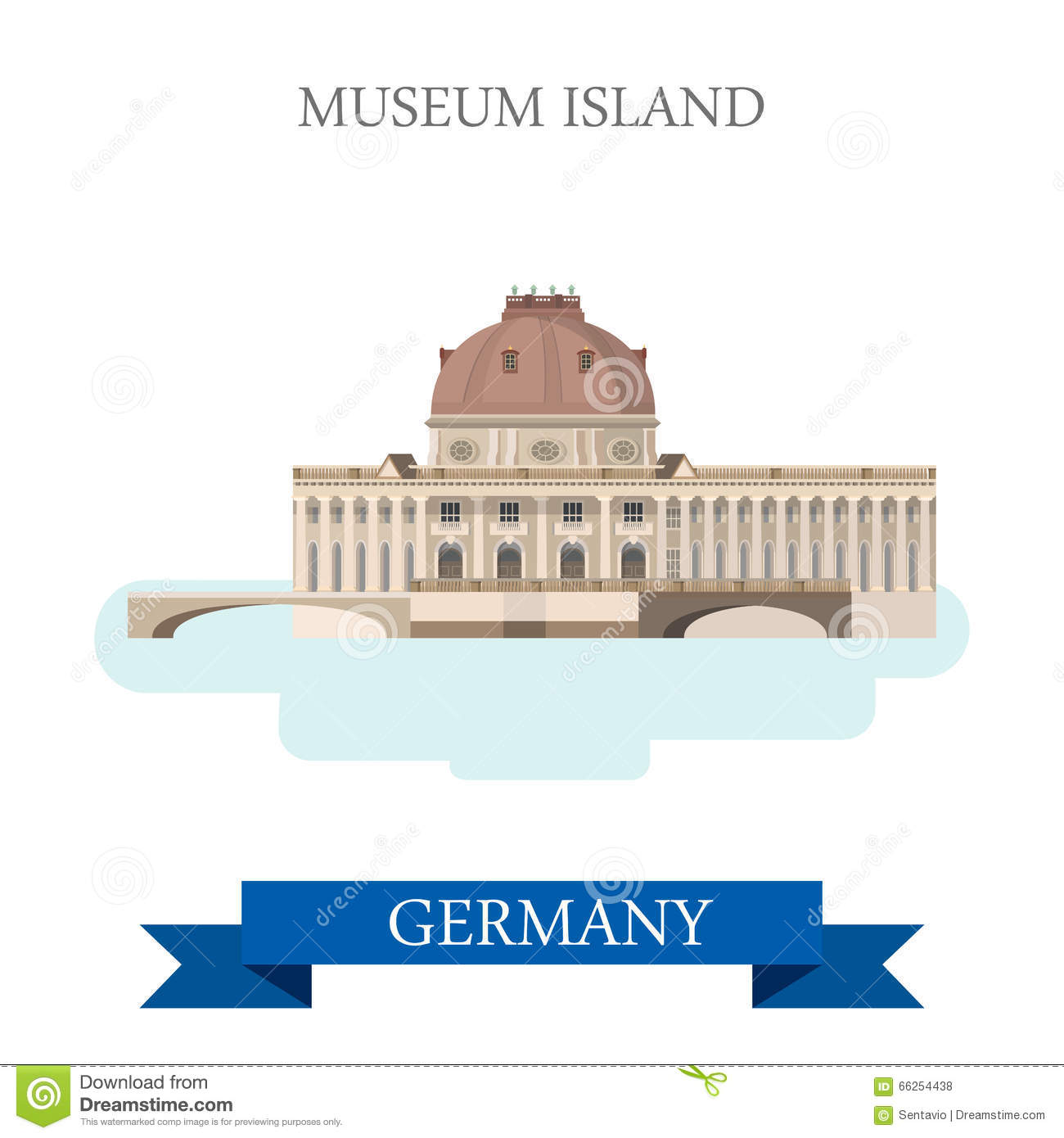 Museum Island Berlin Germany Flat Vector Attraction Landmark Stock.
