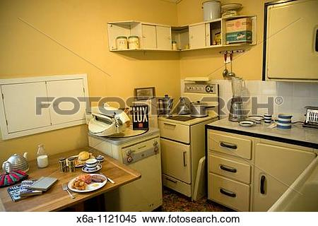 Stock Image of 1950s kitchen, Museum of East Anglian Life.