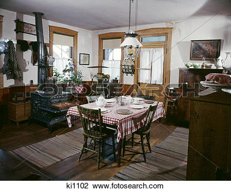 Stock Photo of 1890s turn of the century farm kitchen museum.