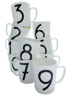 Modernist kitchen: Bauhaus Letters cups at Museum Goods.