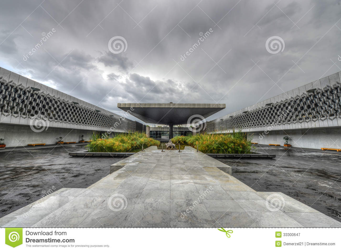 National Museum Of Anthropology Plaza Royalty Free Stock.