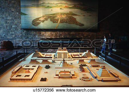 Stock Images of Mexico City, Museum of Anthropology scale model of.