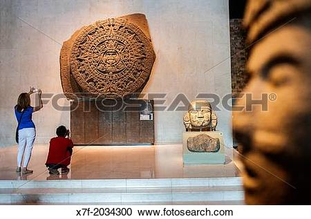 Stock Photography of The Aztec Stone of the Sun and other.