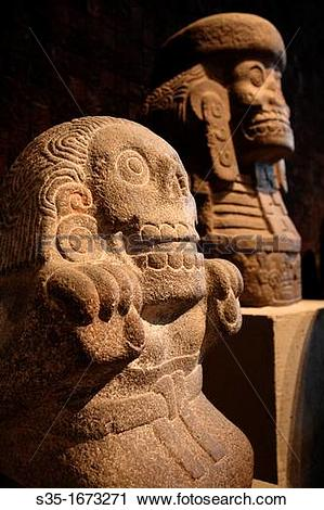 Stock Photography of Ancient stone statues display in National.
