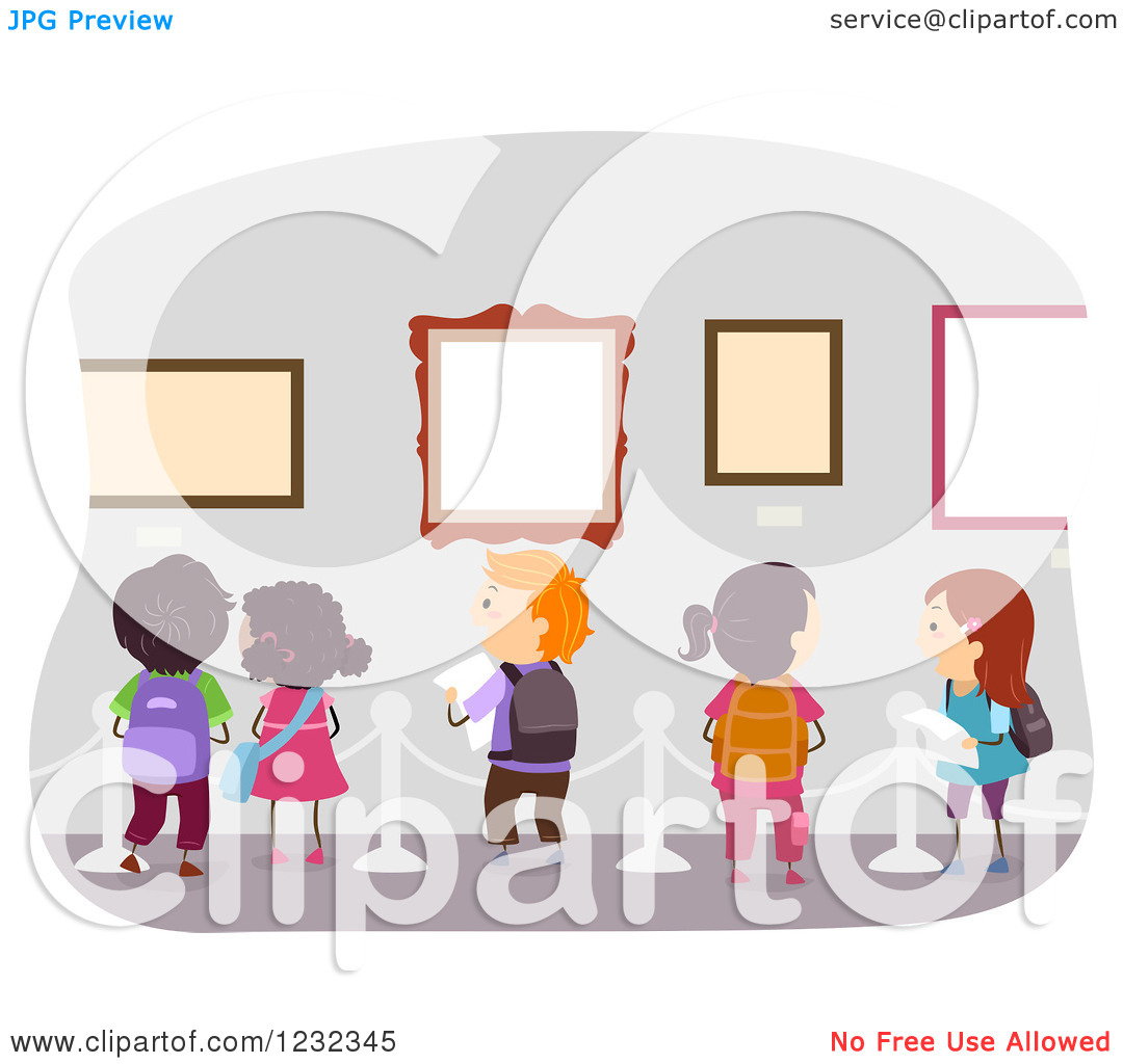 Clipart of Diverse School Kids on an Art Museum Field Trip.