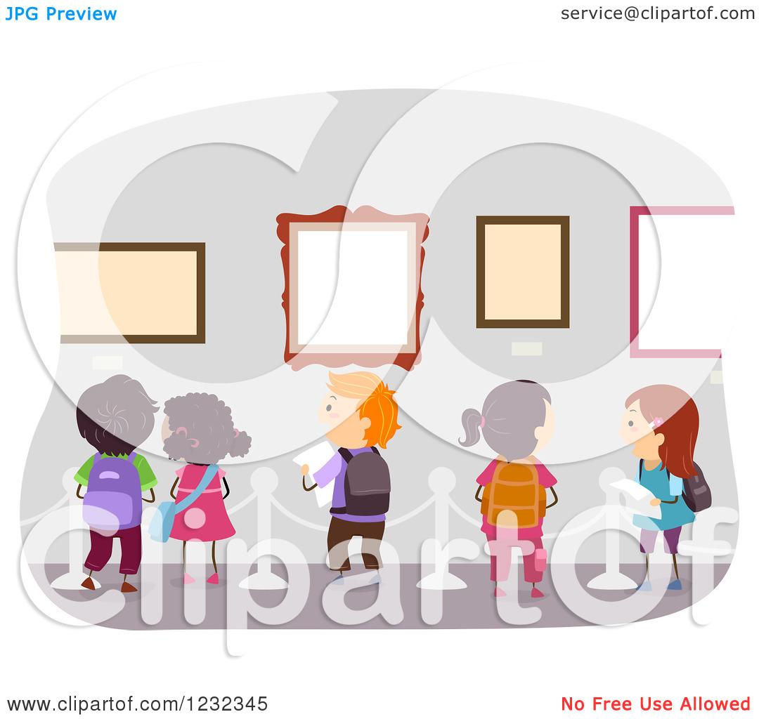 Clipart of Diverse School Kids on an Art Museum Field Trip.