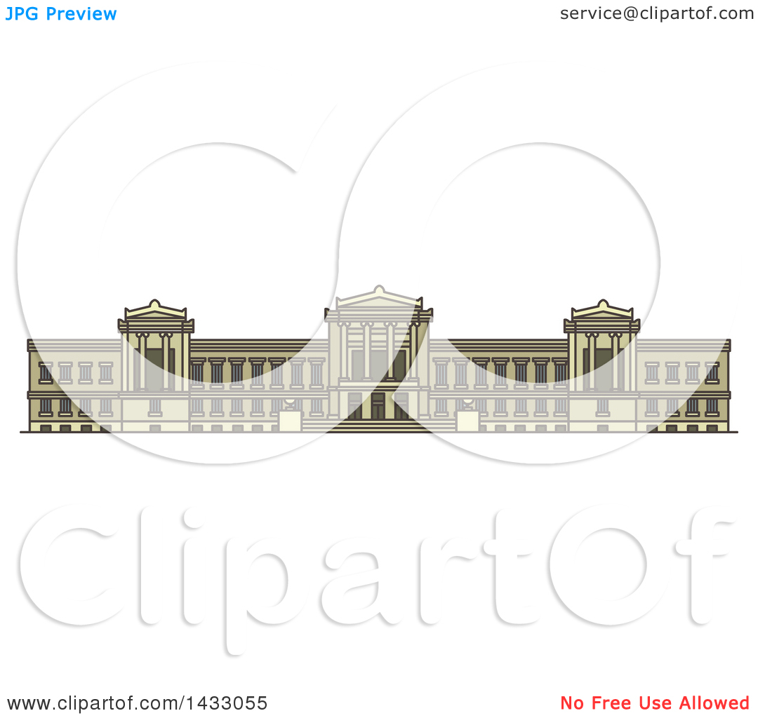 Clipart of a Line Drawing Styled American Landmark, Museum of Fine.