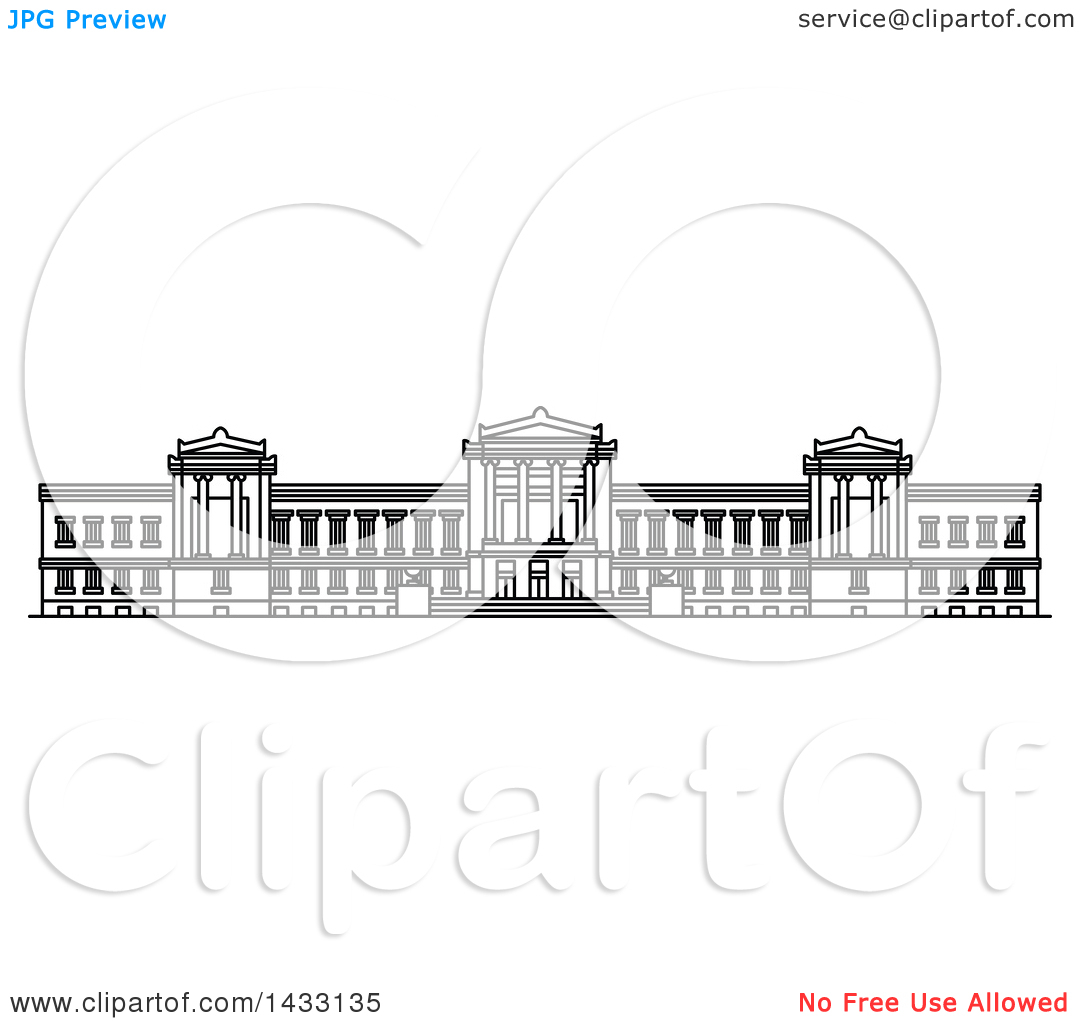 Clipart of a Black and White Line Drawing Styled American Landmark.