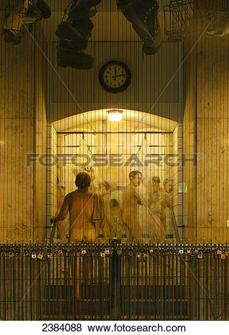 Pictures of Men's shower fresco on wall of museum, German Mining.