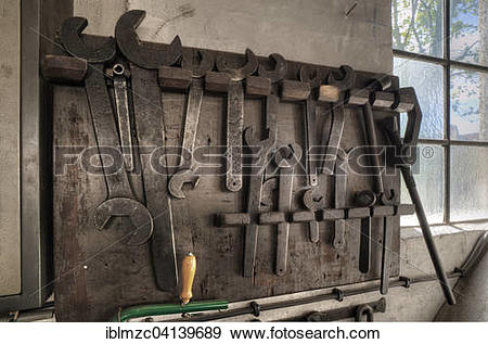 Stock Photograph of Tools for a steam engine from 1903, Museum of.