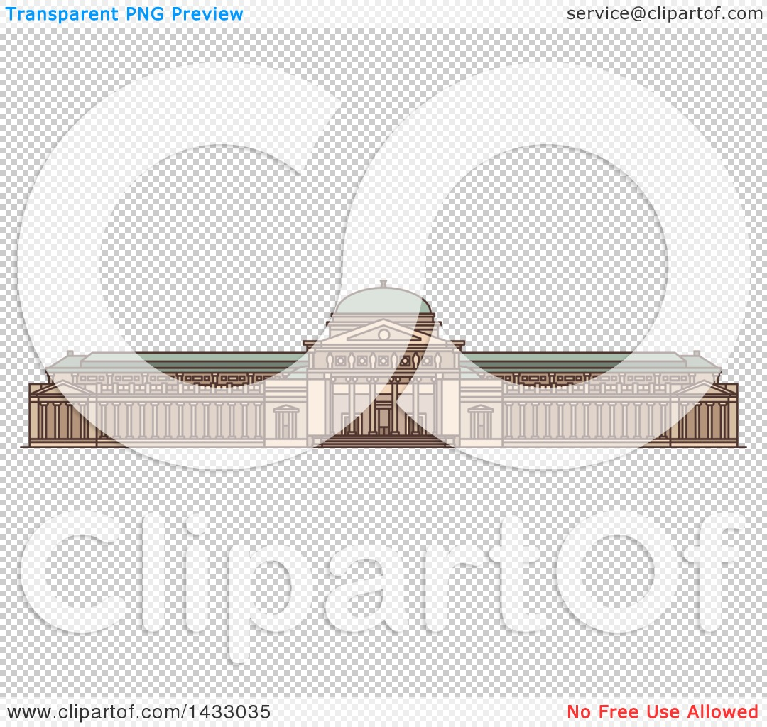 Clipart of a Line Drawing Styled American Landmark, Museum of.