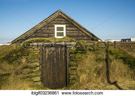"Stock Photography of ""Sod house, Stekkjakot Museum of Local."