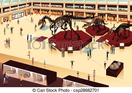 Vector Clipart of Scene Inside a Natural History Museum.