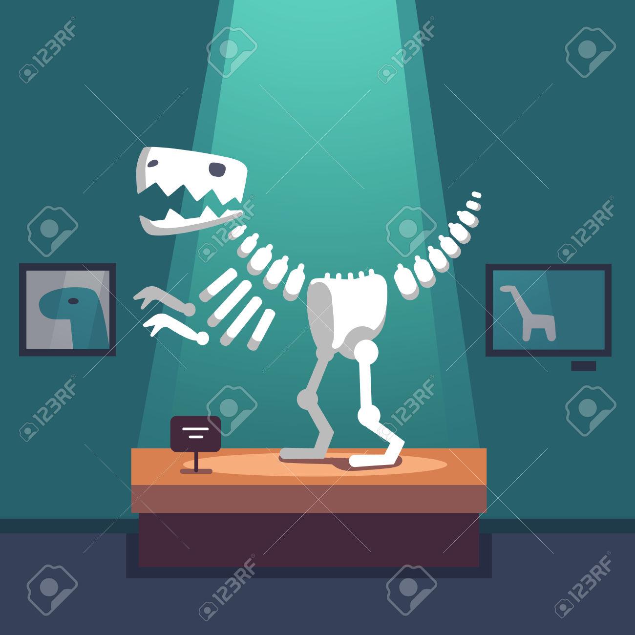 Tyrannosaurus Dinosaur Skeleton At Archeology Museum Exposition.