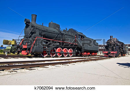 Stock Photo of Old steam locomotive at the depot. Museum of.